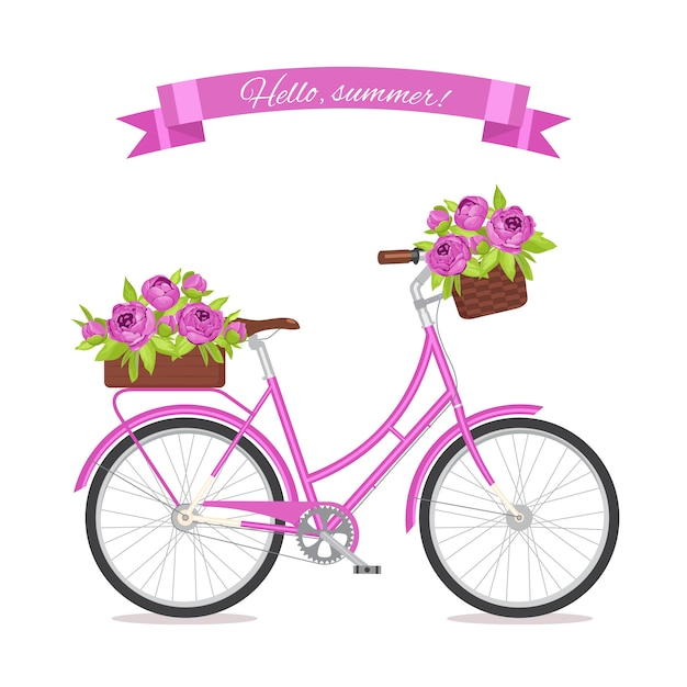 Purpurowy retro bicykl z bukietem w kwiecistym koszu i pudełku na bagażniku. Premium Wektorów