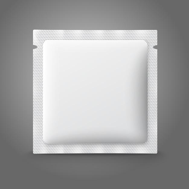 Pusta Biała Plastikowa Saszetka Na Lekarstwa, Prezerwatywy, Leki, Kawę, Cukier, Sól, Przyprawy. Premium Wektorów