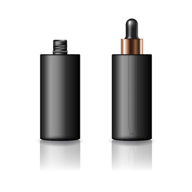 Pusta, czarna cylindryczna butelka kosmetyczna z zakraplaczem dla urody lub zdrowego produktu. Premium Wektorów