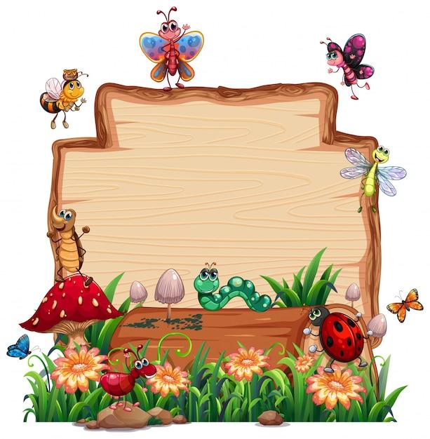 Pusta Drewniana Deska W Naturze Z Zwierzęcym Ogródem Odizolowywającym Darmowych Wektorów