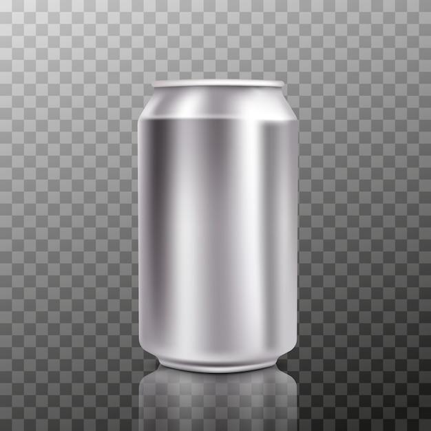 Pusta Duża Zimna Aluminiowa Puszka Piwa Z Kroplami, 300 Ml. Premium Wektorów