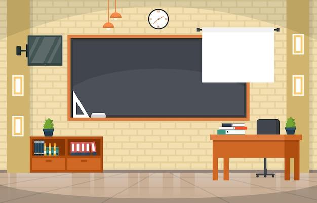 Pusta Klasa Edukacja Wewnętrzna Klasa Liceum Nikt Nie Ilustracja Premium Wektorów