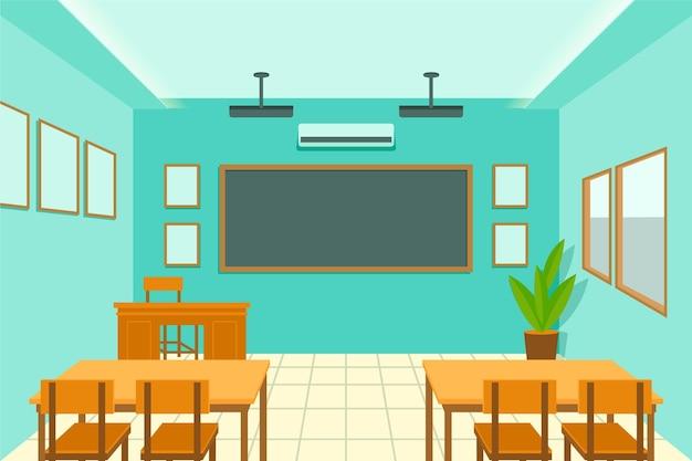 Pusta Klasa Szkolna - Tło Do Wideokonferencji Premium Wektorów