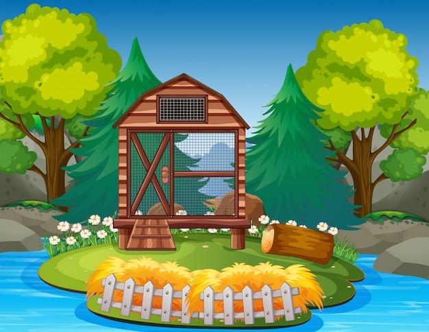 Pusta Klatka Na Ilustracji Zoo Premium Wektorów
