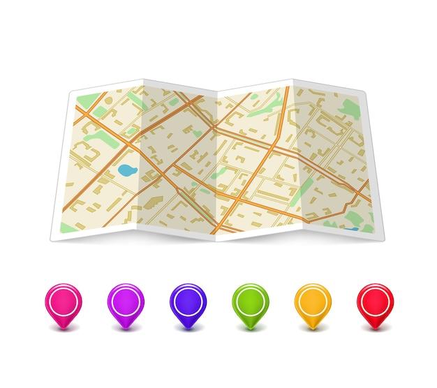 Pusta Mapa Z Wielobarwnymi Wskaźnikami Pinowymi Darmowych Wektorów