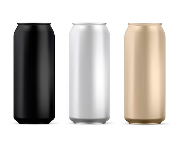 Pusta Puszka Aluminiowa. Okrągła Puszka Sody Na Białym Tle Premium Wektorów