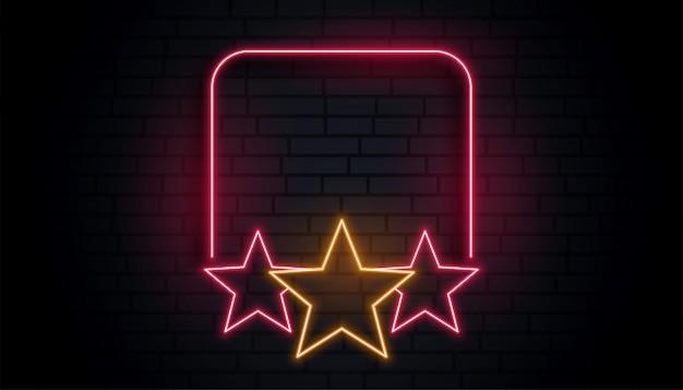 Pusta ramka gwiazda neon z miejsca na tekst Darmowych Wektorów