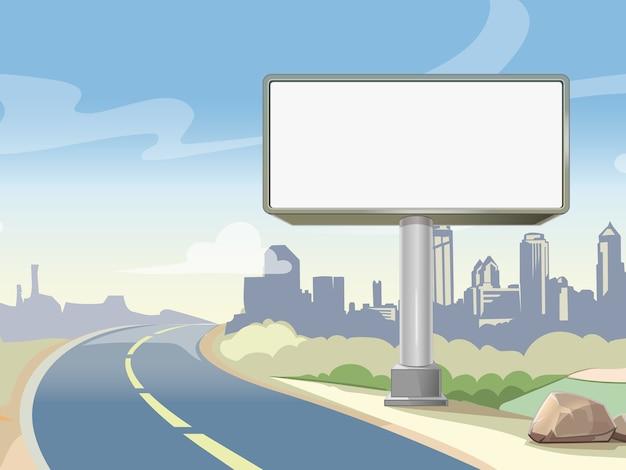 Pusta Reklama Billboard Autostrady I Krajobraz Miejski. Reklama Zewnętrzna, Plakat Na Tablicy. Ilustracji Wektorowych Darmowych Wektorów