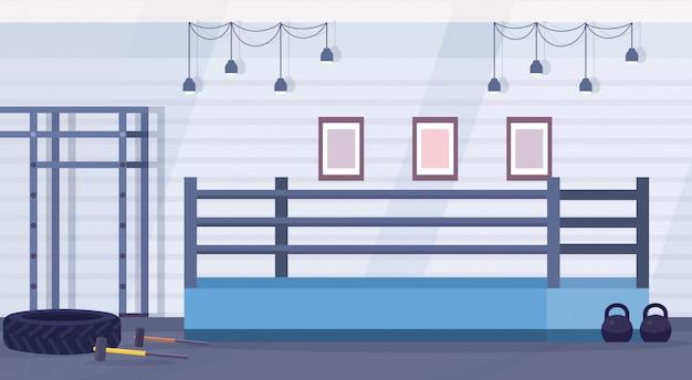 Pusta Ringowa Boks Arena Dla Trenować W Gym Nowożytnej Walki Klubu Projekta Wnętrz Horyzontalnej Płaskiej Wektorowej Ilustraci Premium Wektorów