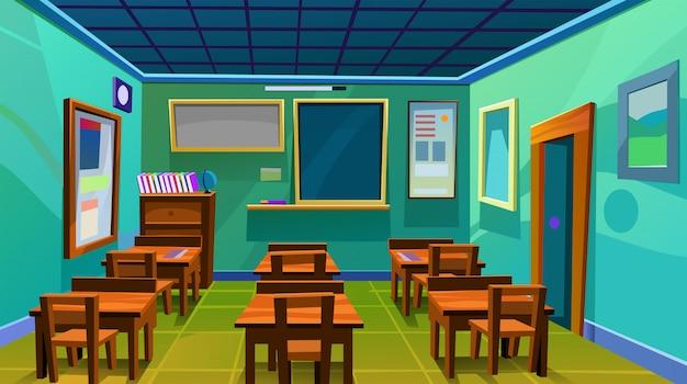 Pusta Szkoła Pokój Pokój Wnętrze Zarządu Biurko Płaskie Wektor Ilustracja Premium Wektorów