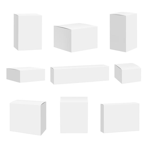Puste Białe Pudełko. Opakowania Pojemniki Kwadraty Szczegółowe Premium Wektorów