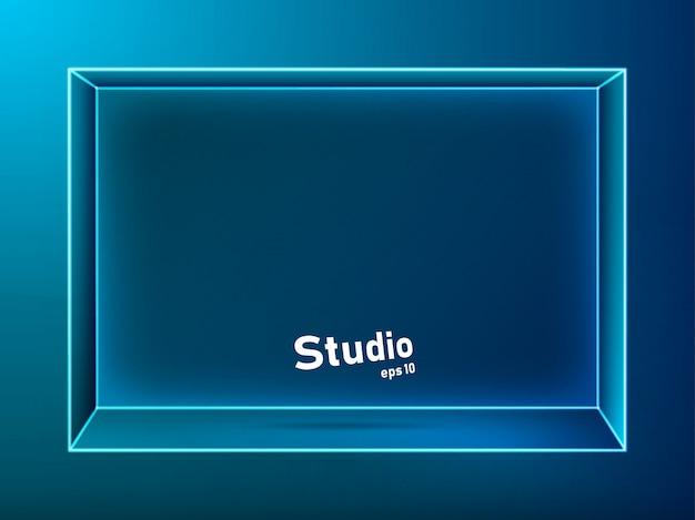 Puste ciemnoniebieskie, oświetlone neonami studio, do wyświetlenia Premium Wektorów