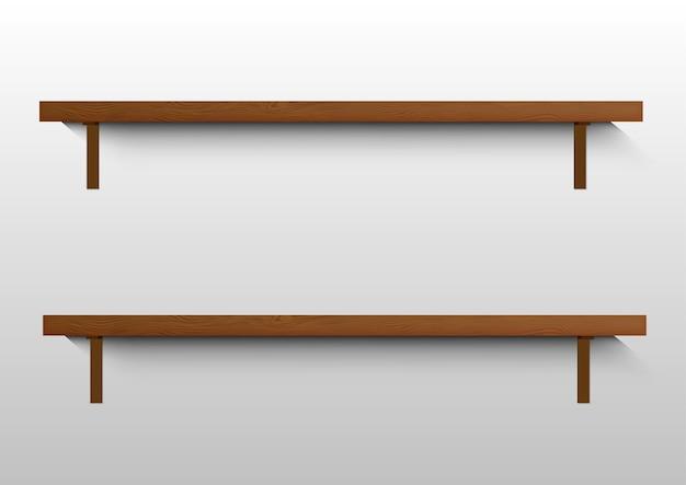Puste Drewniane Półki Na ścianie. Premium Wektorów