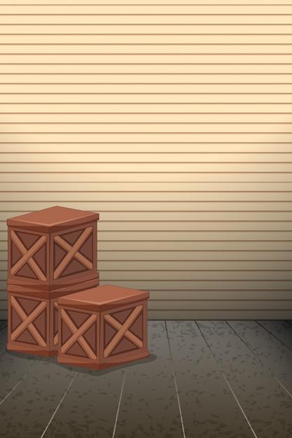 Puste drewniane pudełko tło Darmowych Wektorów
