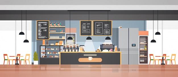 Puste Nowoczesne Wnętrze Kawiarni Premium Wektorów