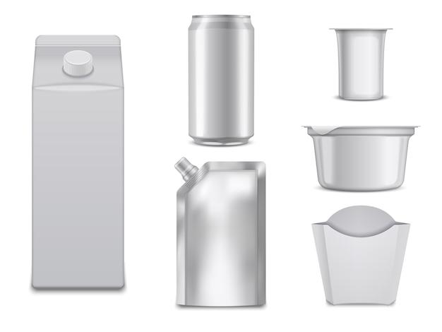 Puste opakowania żywności. białe pudełka i pojemniki. Premium Wektorów