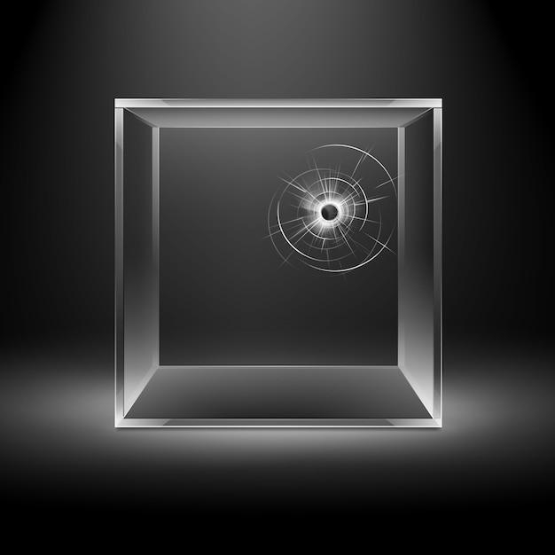 Puste Przezroczyste Złamane Pęknięcia Szklane Pudełko Na Białym Tle Na Ciemnym Czarnym Tle Z Podświetleniem Premium Wektorów