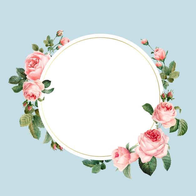 Puste round różowe róże obramiają wektor na błękitnym tle Darmowych Wektorów