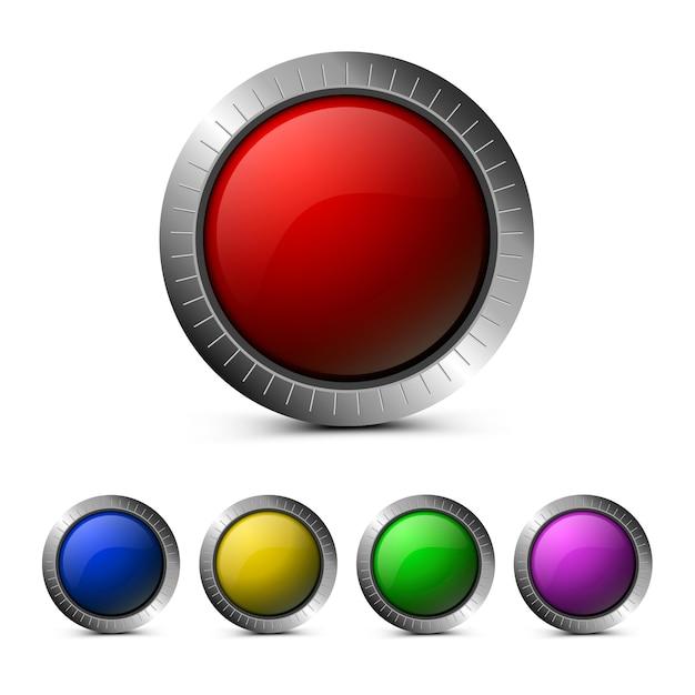 Puste szklane przyciski w kolorze czerwonym, zielonym, niebieskim, żółtym i fioletowym Premium Wektorów