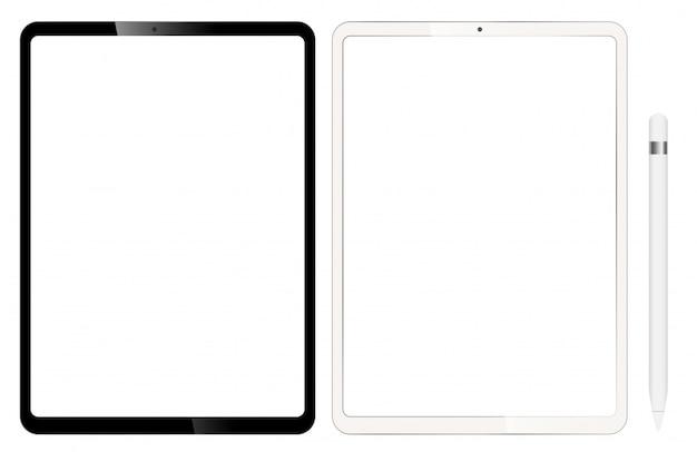 Puste tablety lub ipad. w zestawie z piórem do projektowania. Premium Wektorów