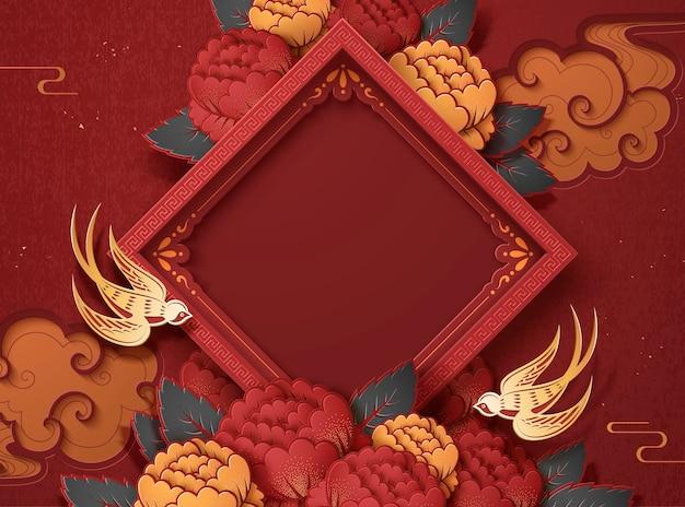 Puste Wiosenne Dwuwiersz I Piwonia Kwiaty Tło Dla Projektu Nowego Roku Premium Wektorów