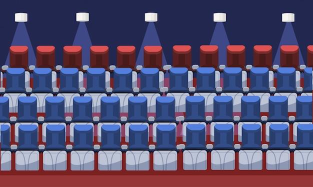 Puste Wygodne Fotele Kinowe Nowoczesne Kino Wnętrza Siedzenia Sceniczne W Rzędzie Na Płasko Premium Wektorów