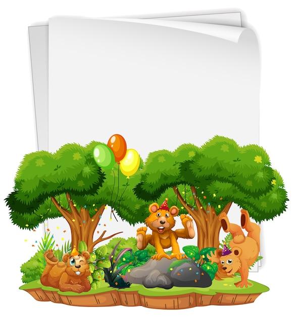 Pusty Arkusz Papieru Z Wieloma Niedźwiedziami W Motywie Imprezowym Premium Wektorów