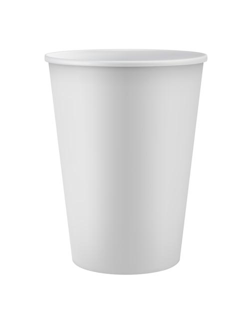 Pusty biały kubek jednorazowy Premium Wektorów
