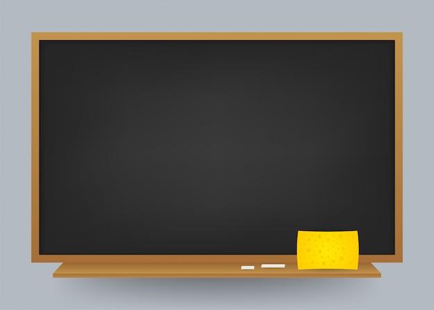 Pusty Czarny Szkolny Chalkboard Tło. Szablon Do Projektowania. Ilustracja Akcji. Premium Wektorów