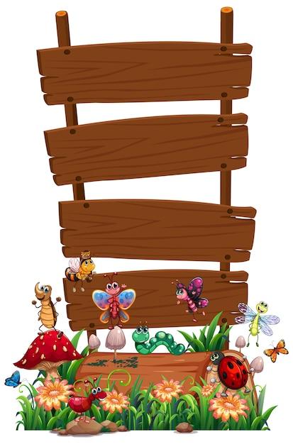 Pusty Drewno Znak Z Zwierzęcym Ogródem Ustawiającym Odizolowywającym Darmowych Wektorów