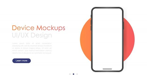 Pusty Ekran Smartfona, Makieta Telefonu. Premium Wektorów