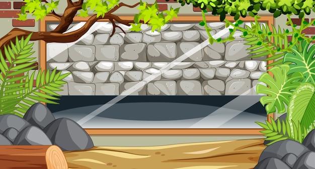 Pusty Kamienny Mur Na Scenie Zoo Darmowych Wektorów