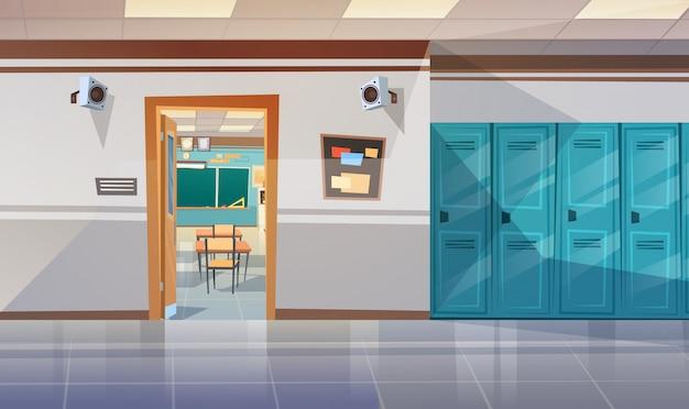 Pusty korytarz szkolny z szafkami w hali otwarte drzwi do pokoju klasowego Premium Wektorów