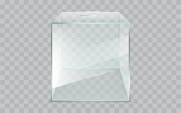 Pusty, kwadratowy, szklany urny, realistyczny wektor Darmowych Wektorów
