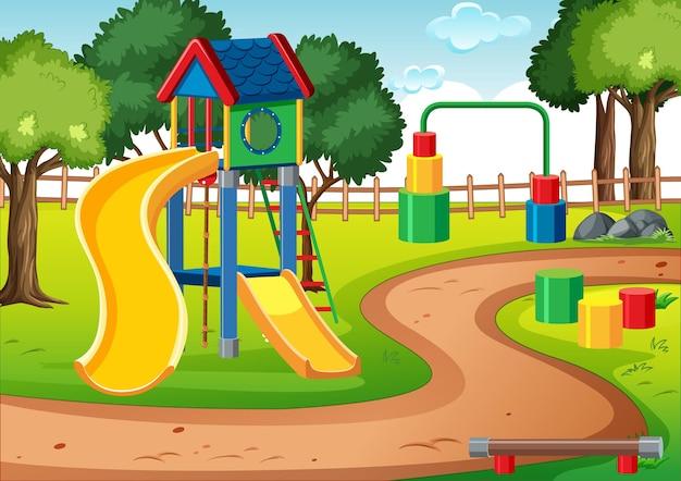 Pusty Plac Zabaw Dla Dzieci Ze Zjeżdżalniami Na Scenie Darmowych Wektorów