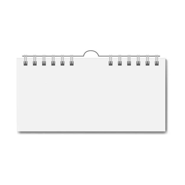 Pusty realistyczny prostokątny kalendarz na spirali Premium Wektorów