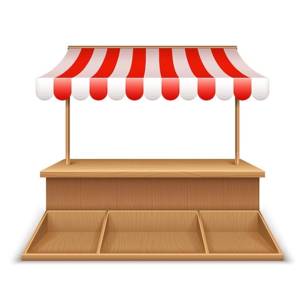 Pusty Stragan. Drewniany Kiosk, Stojak Na Uliczny Sklep Spożywczy Z Markizą W Paski I Szablon Blatu Premium Wektorów