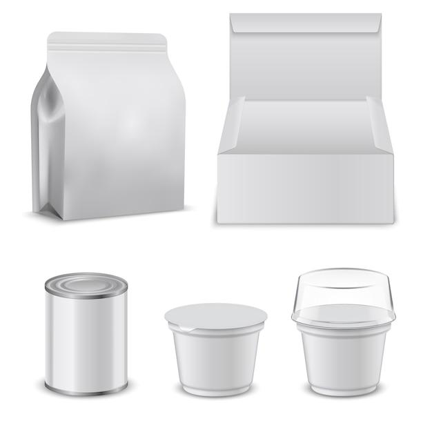 Pusty Szablon Pudełek Na żywność I Plastikowych Pojemników. Premium Wektorów