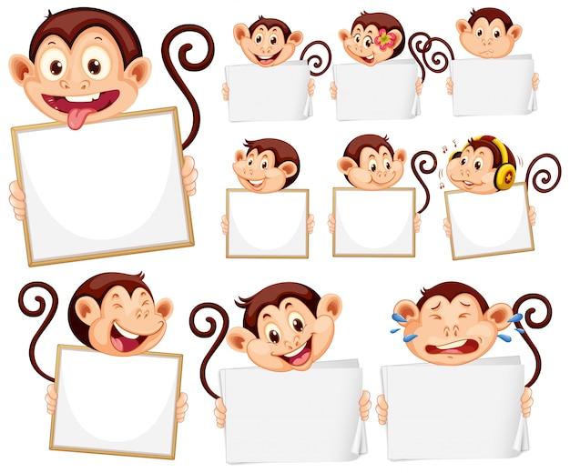 Pusty Szablon Znak Z Cute Małpy Na Białym Tle Darmowych Wektorów