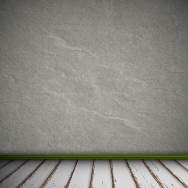 Pusty Wnętrze Rocznika Pokój Z Szarą Kamienną ścianą I Starą Drewnianą Podłoga Premium Wektorów