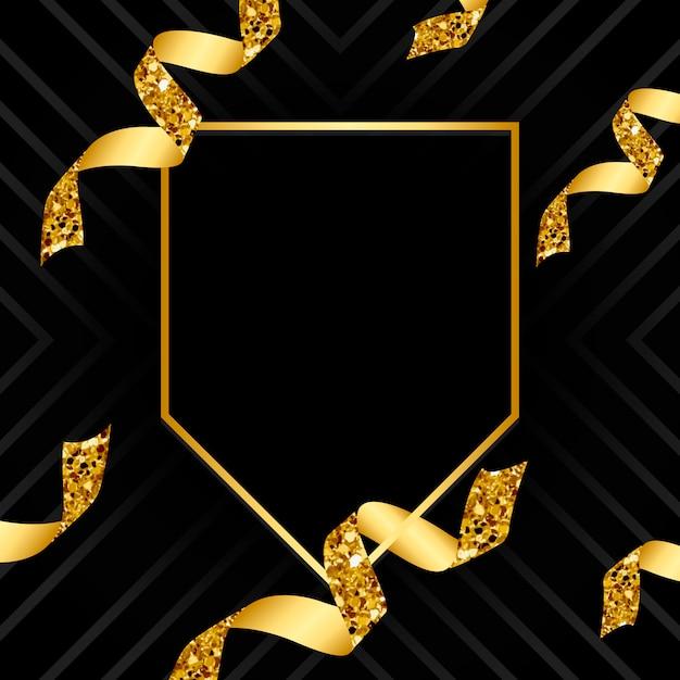 Pusty złoty emblemat z confetti wektorem Darmowych Wektorów
