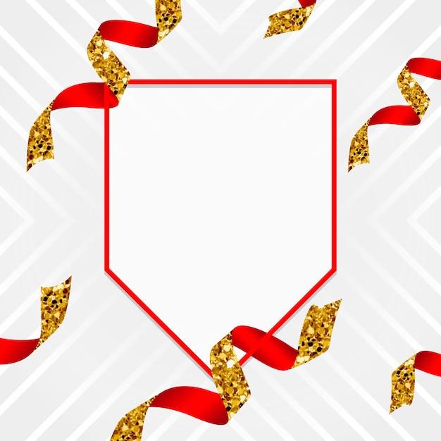 Pusty Złoty I Czerwony Emblemat Z Confetti Wektorem Darmowych Wektorów
