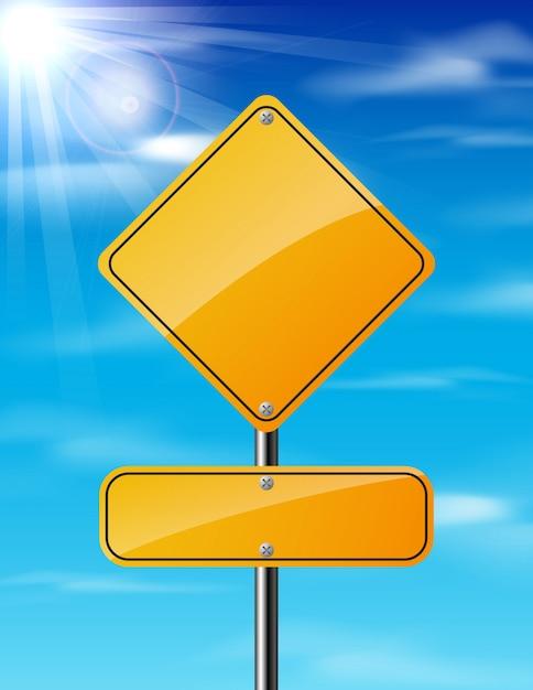 Pusty żółty Ruchu Drogowego Drogowy Znak Na Nieba Tle Premium Wektorów