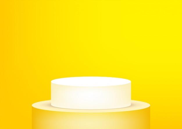 Pusty żółty studio na podium do prezentacji produktów. Premium Wektorów