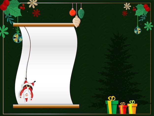 Pusty Zwój Papieru Z Wiszącym Mikołajem Premium Wektorów