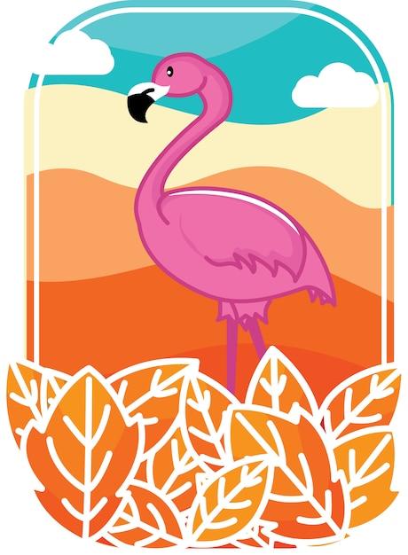 Pustynia flamingo Premium Wektorów