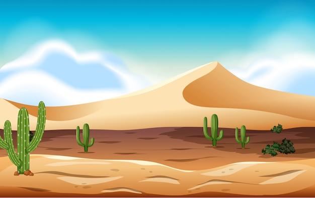 Pustynia Z Wydmami I Kaktusa Premium Wektorów