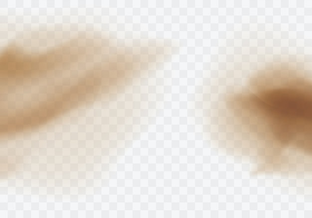 Pustynna Burza Piaskowa, Brązowa Zakurzona Chmura Na Przezroczystym Darmowych Wektorów