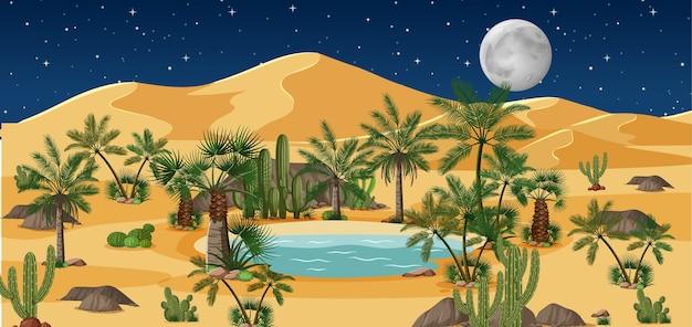 Pustynna Oaza Z Palmami I Krajobrazem Przyrody Catus W Nocnej Scenie Darmowych Wektorów