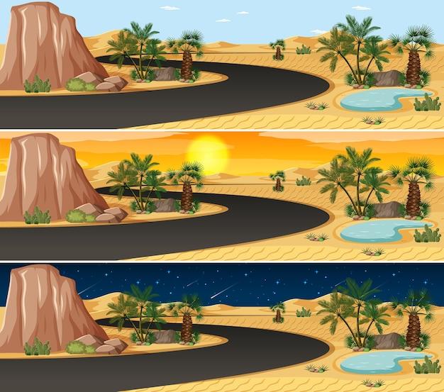 Pustynna Scena Krajobrazowa O Różnych Porach Dnia Darmowych Wektorów
